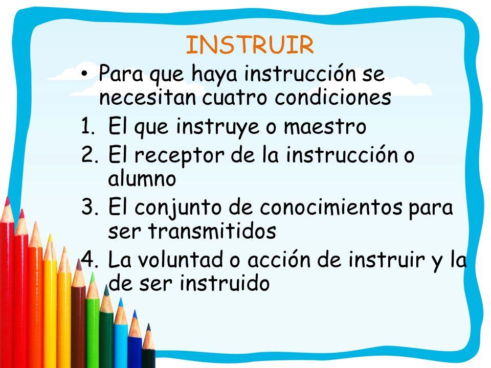 INSTRUIR Para que haya instrucción se necesitan cuatro condiciones