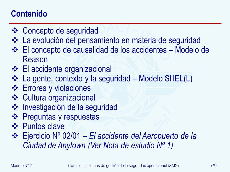 ContenidoConcepto de seguridad. La evolución del pensamiento en materia de seguridad. El concepto de causalidad de los accidentes – Modelo de Reason.