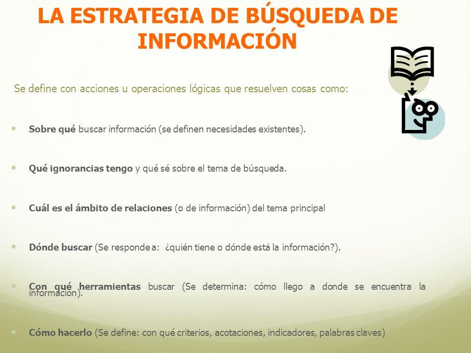 LA ESTRATEGIA DE BÚSQUEDA DE INFORMACIÓN