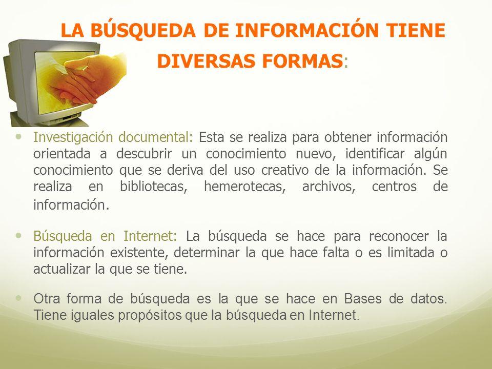 LA BÚSQUEDA DE INFORMACIÓN TIENE DIVERSAS FORMAS: