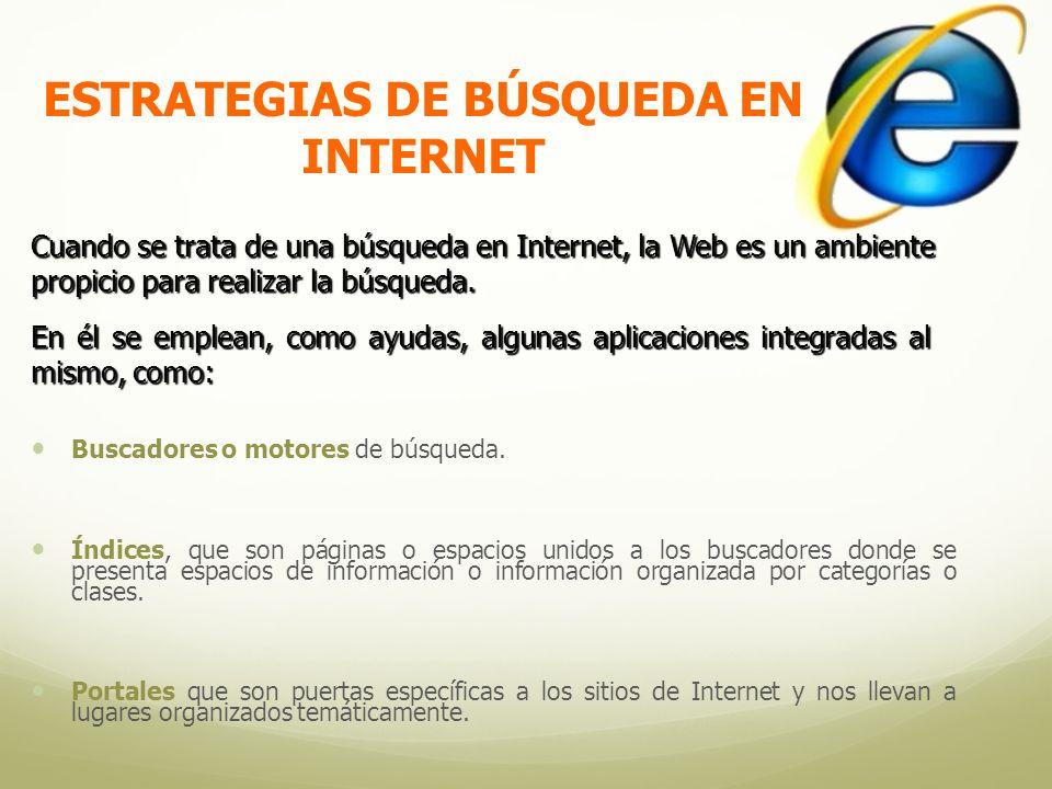 ESTRATEGIAS DE BÚSQUEDA EN INTERNET