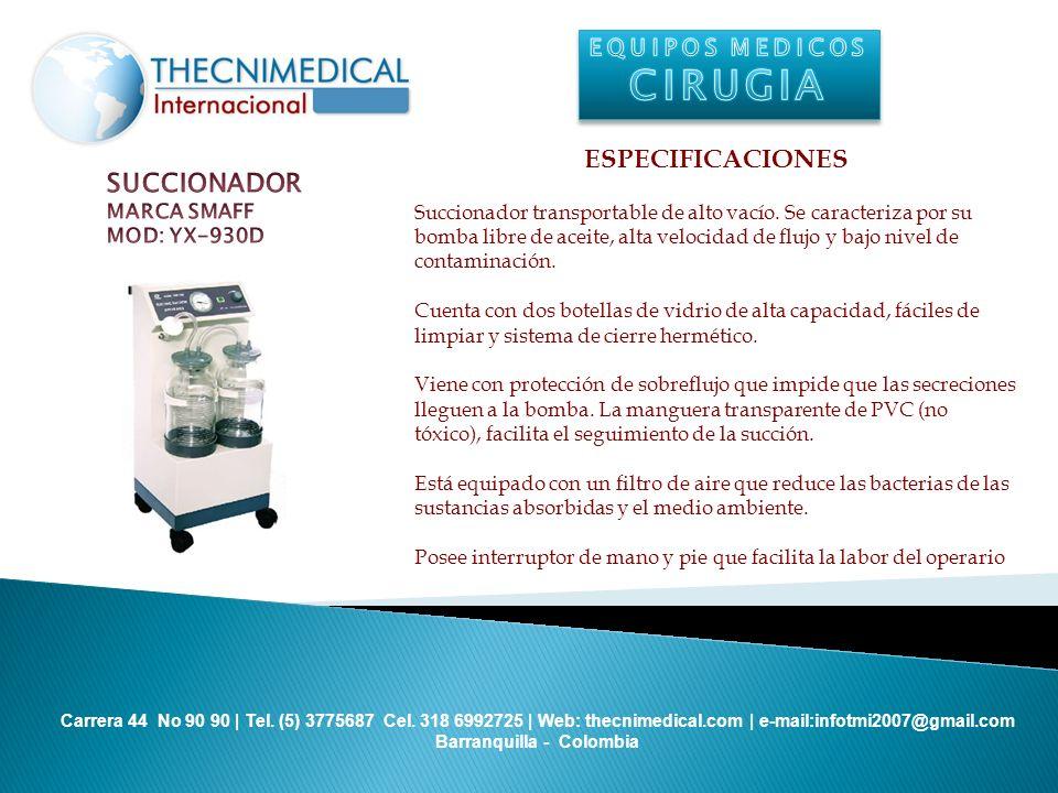 CIRUGIA ESPECIFICACIONES SUCCIONADOR EQUIPOS MEDICOS