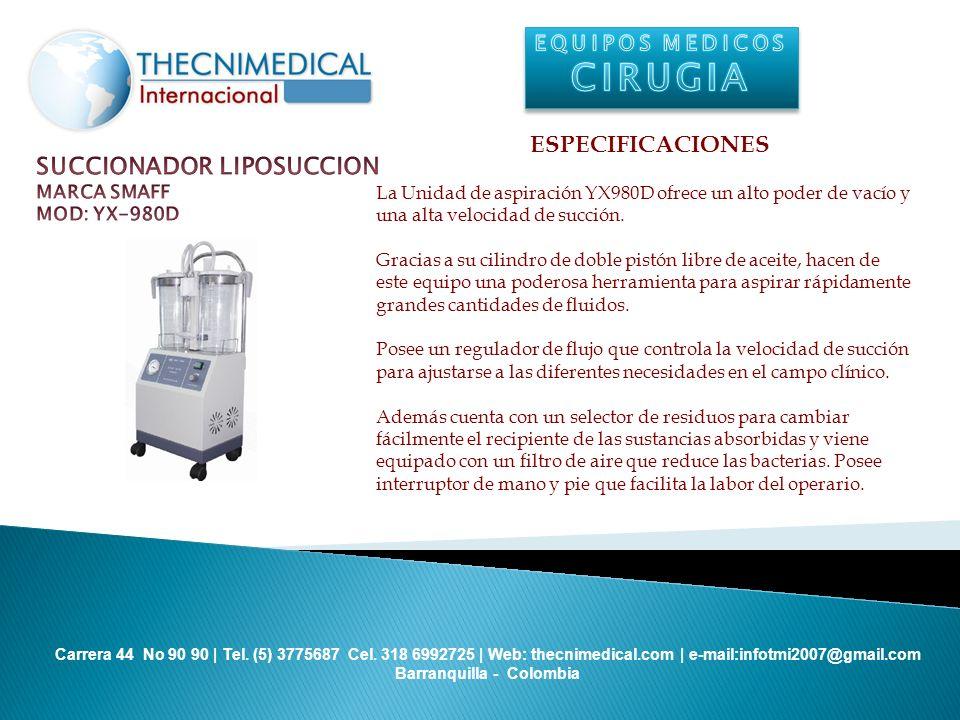 CIRUGIA ESPECIFICACIONES SUCCIONADOR LIPOSUCCION EQUIPOS MEDICOS