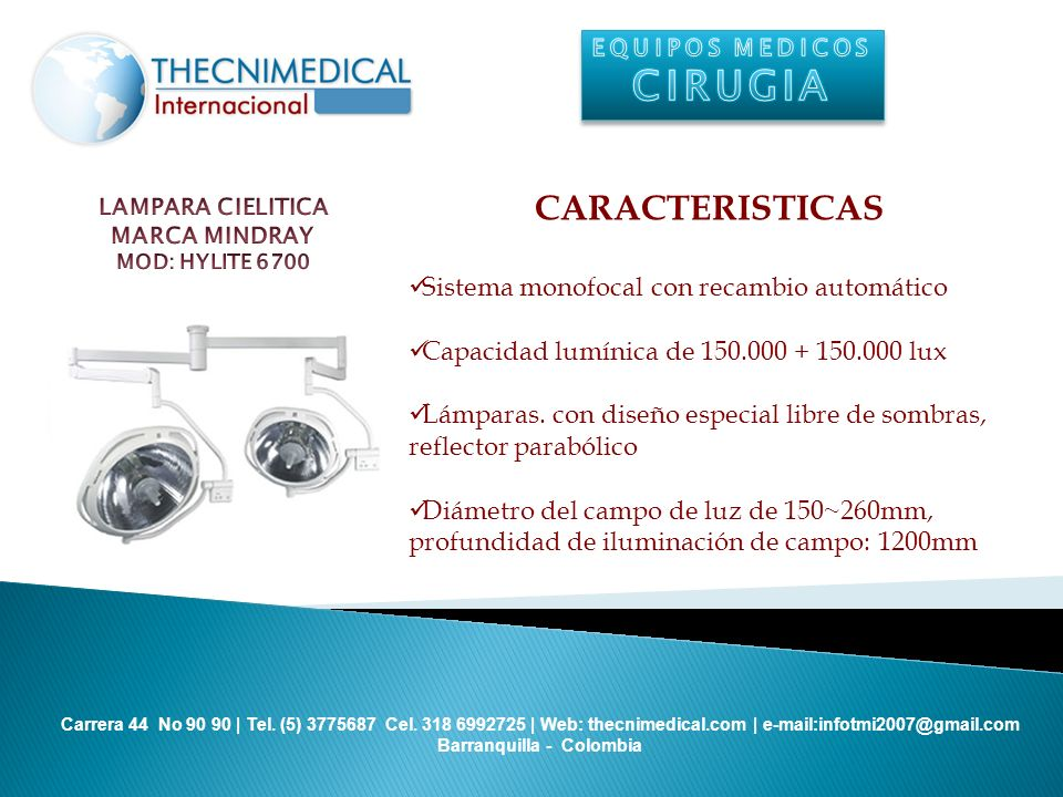 CIRUGIA CARACTERISTICAS Sistema monofocal con recambio automático