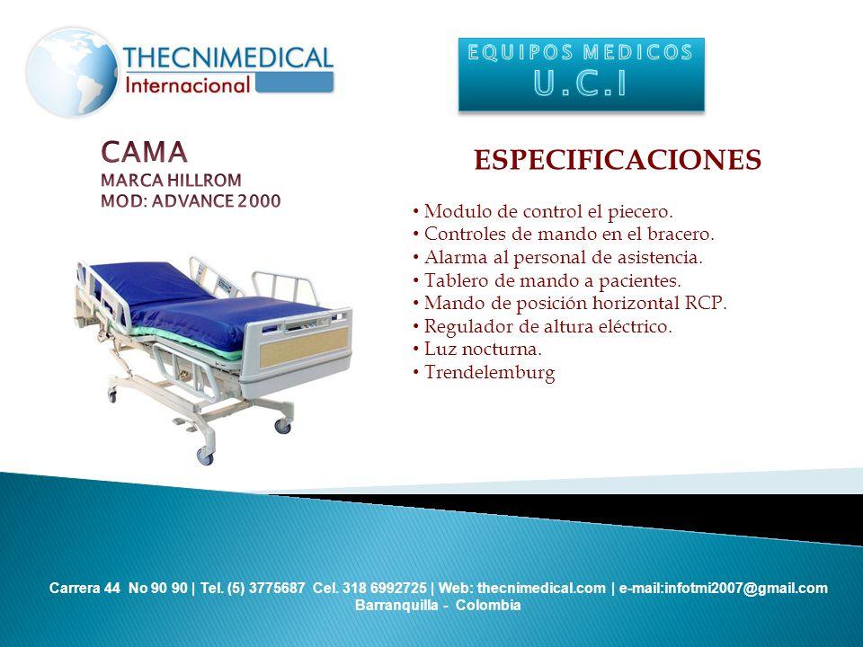 U.C.I CAMA ESPECIFICACIONES EQUIPOS MEDICOS