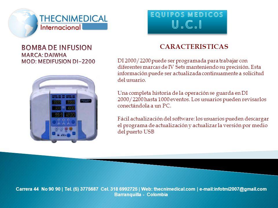 U.C.I CARACTERISTICAS BOMBA DE INFUSION EQUIPOS MEDICOS MARCA: DAIWHA