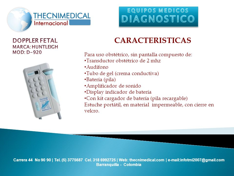 DIAGNOSTICO CARACTERISTICAS DOPPLER FETAL EQUIPOS MEDICOS
