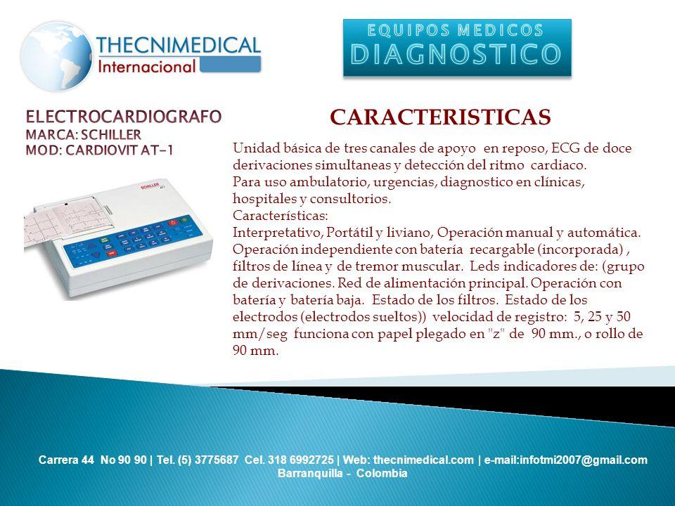 DIAGNOSTICO CARACTERISTICAS ELECTROCARDIOGRAFO EQUIPOS MEDICOS