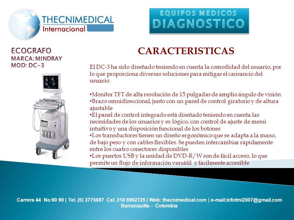 DIAGNOSTICO CARACTERISTICAS ECOGRAFO EQUIPOS MEDICOS MARCA: MINDRAY