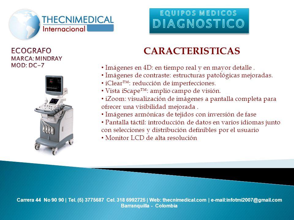 DIAGNOSTICO CARACTERISTICAS ECOGRAFO EQUIPOS MEDICOS