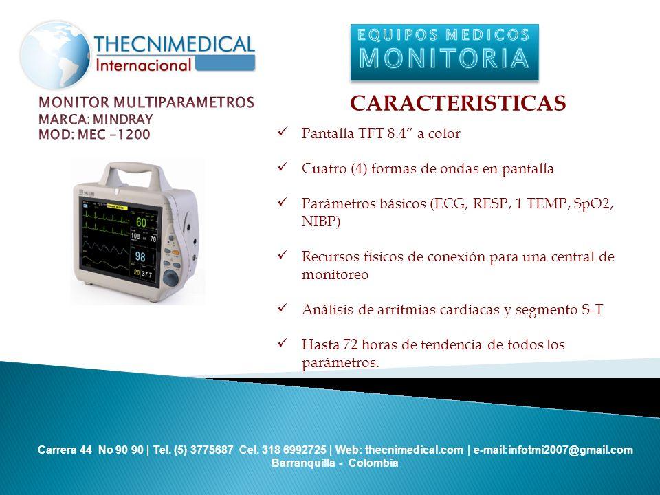 MONITORIA CARACTERISTICAS EQUIPOS MEDICOS MONITOR MULTIPARAMETROS