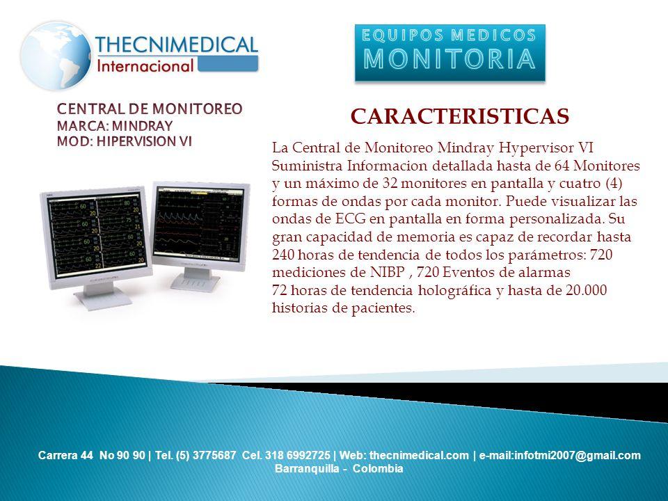 MONITORIA CARACTERISTICAS EQUIPOS MEDICOS CENTRAL DE MONITOREO