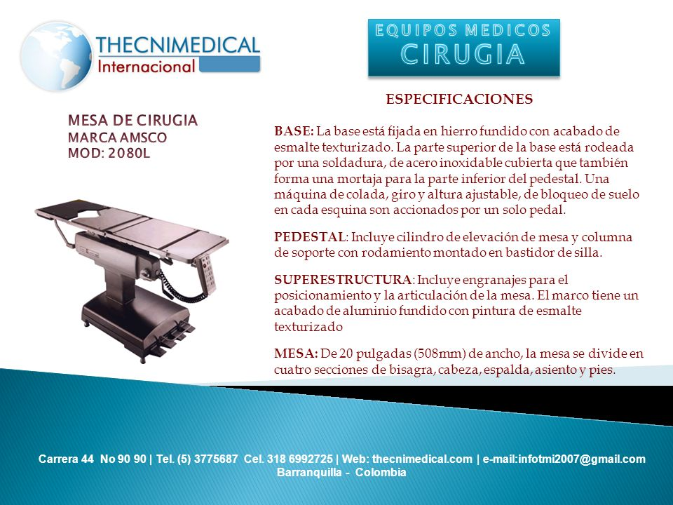 CIRUGIA EQUIPOS MEDICOS ESPECIFICACIONES MESA DE CIRUGIA