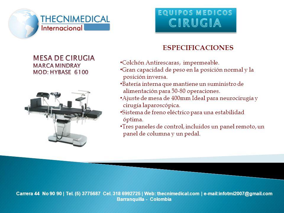 CIRUGIA ESPECIFICACIONES MESA DE CIRUGIA EQUIPOS MEDICOS