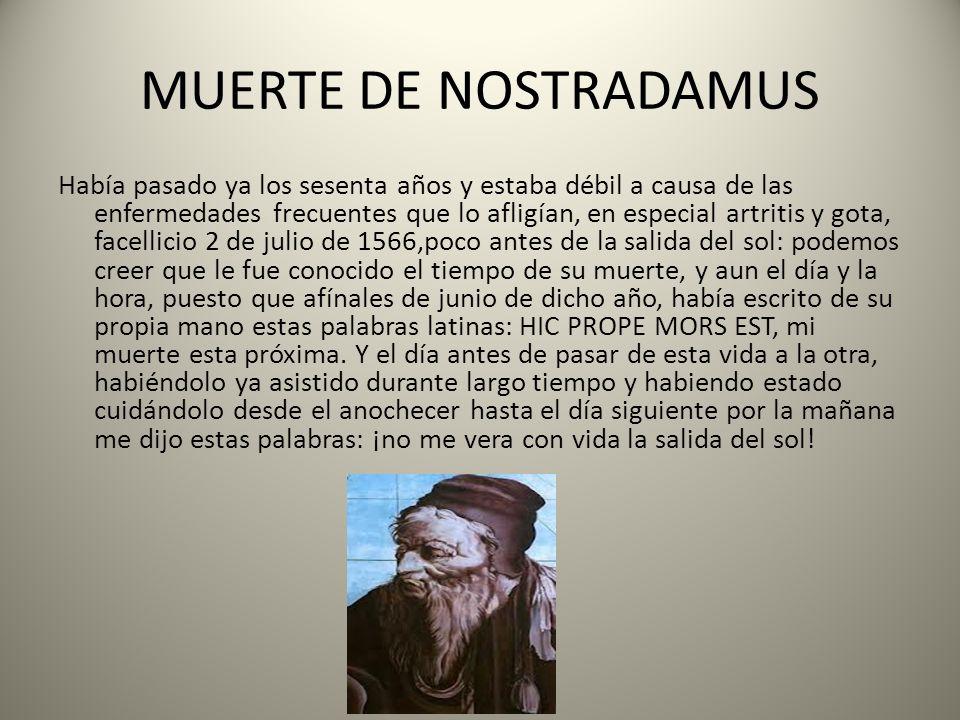 MUERTE DE NOSTRADAMUS