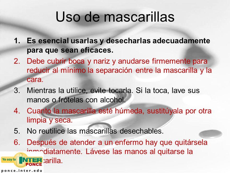 Uso de mascarillas Es esencial usarlas y desecharlas adecuadamente para que sean eficaces.