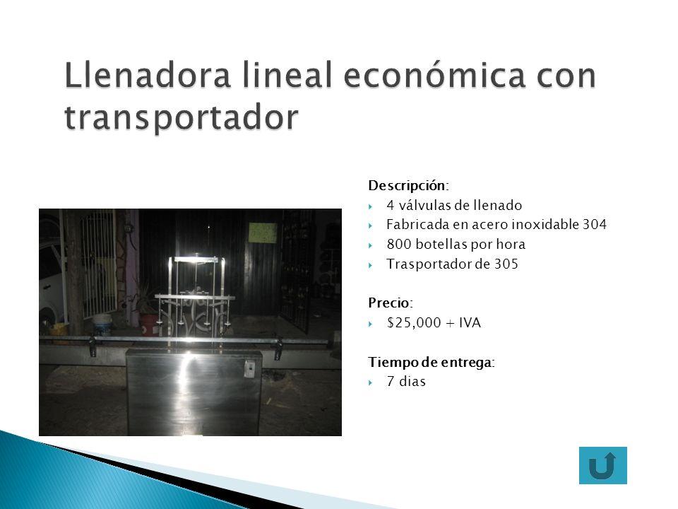 Llenadora lineal económica con transportador