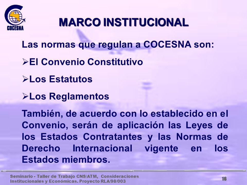 MARCO INSTITUCIONAL Las normas que regulan a COCESNA son: