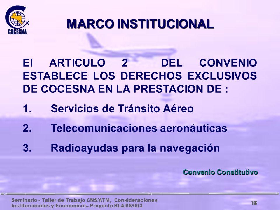 MARCO INSTITUCIONAL El ARTICULO 2 DEL CONVENIO ESTABLECE LOS DERECHOS EXCLUSIVOS DE COCESNA EN LA PRESTACION DE :