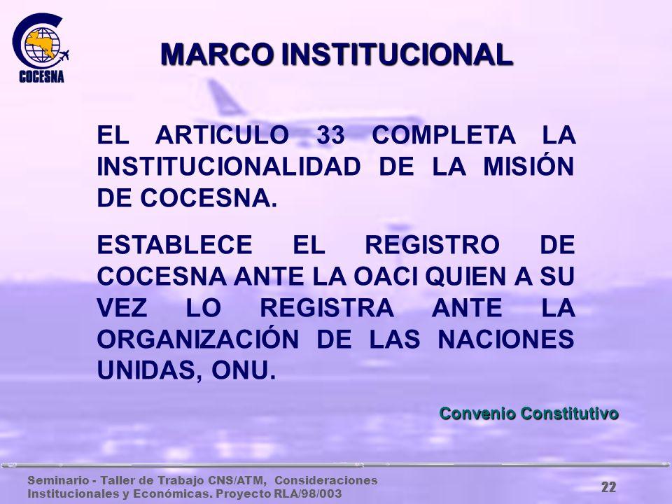 MARCO INSTITUCIONAL EL ARTICULO 33 COMPLETA LA INSTITUCIONALIDAD DE LA MISIÓN DE COCESNA.