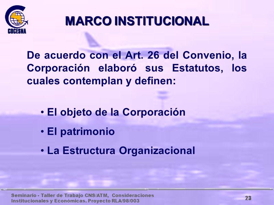 MARCO INSTITUCIONAL De acuerdo con el Art. 26 del Convenio, la Corporación elaboró sus Estatutos, los cuales contemplan y definen:
