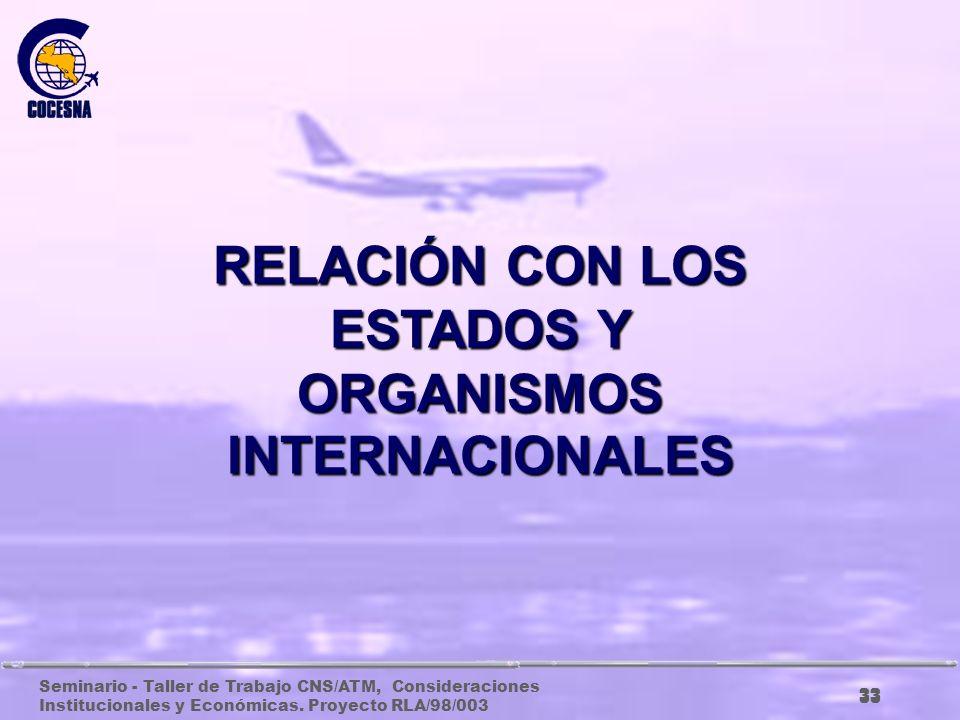 RELACIÓN CON LOS ESTADOS Y ORGANISMOS INTERNACIONALES