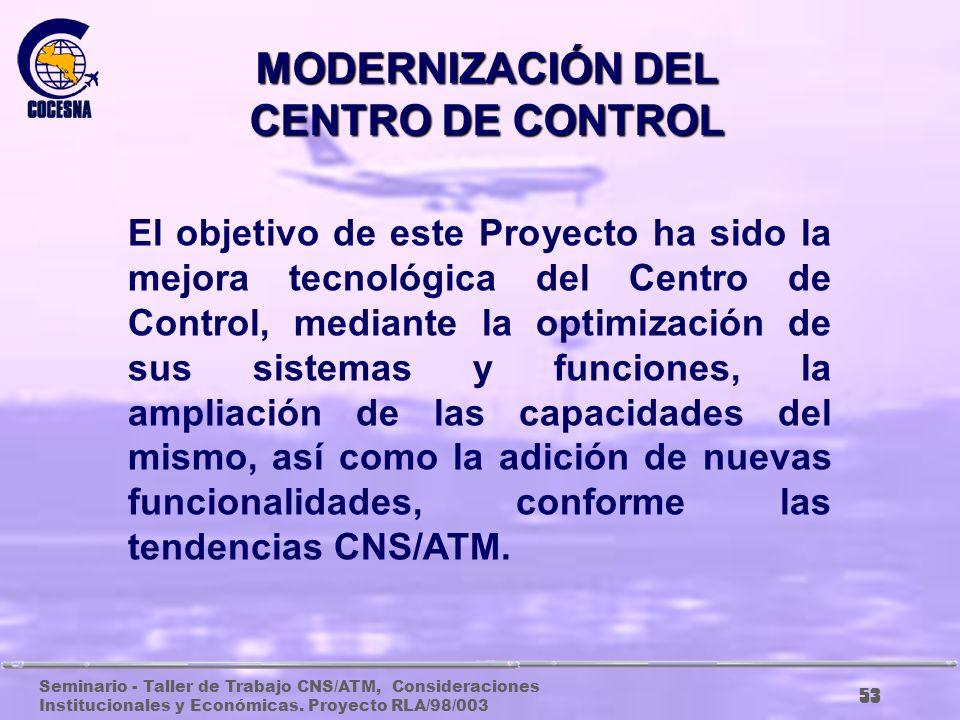 MODERNIZACIÓN DEL CENTRO DE CONTROL