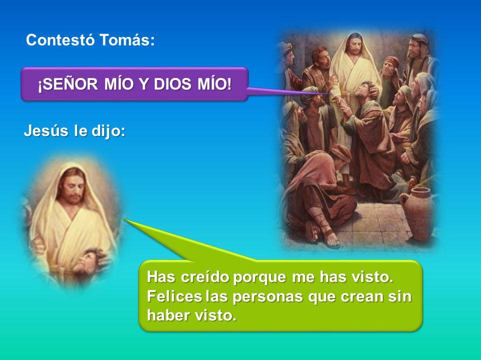 Contestó Tomás: ¡SEÑOR MÍO Y DIOS MÍO. Jesús le dijo: Has creído porque me has visto.