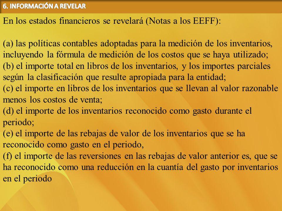 En los estados financieros se revelará (Notas a los EEFF):