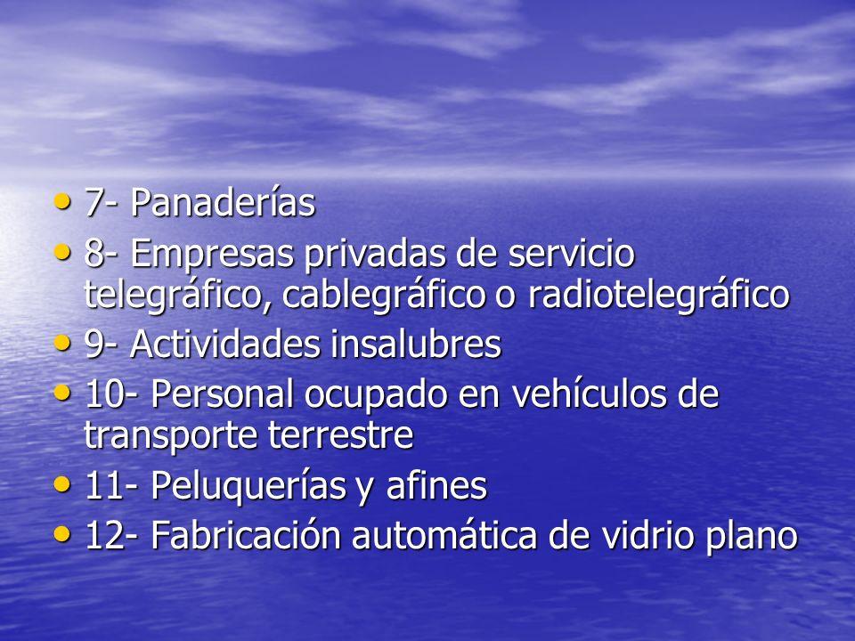 7- Panaderías 8- Empresas privadas de servicio telegráfico, cablegráfico o radiotelegráfico. 9- Actividades insalubres.