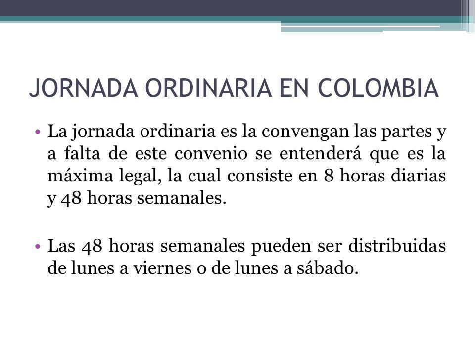 JORNADA ORDINARIA EN COLOMBIA
