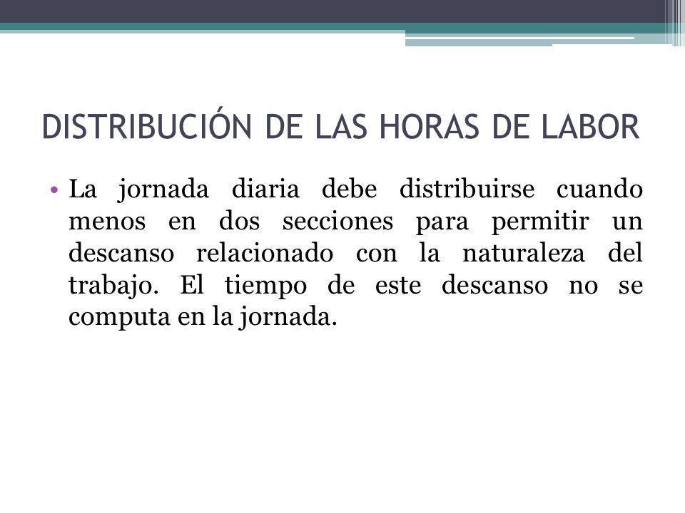 DISTRIBUCIÓN DE LAS HORAS DE LABOR