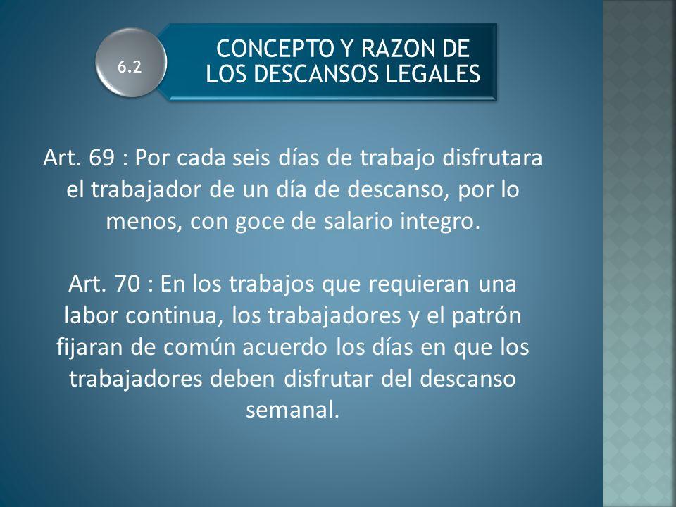 CONCEPTO Y RAZON DE LOS DESCANSOS LEGALES