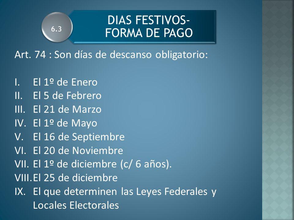 DIAS FESTIVOS- FORMA DE PAGO