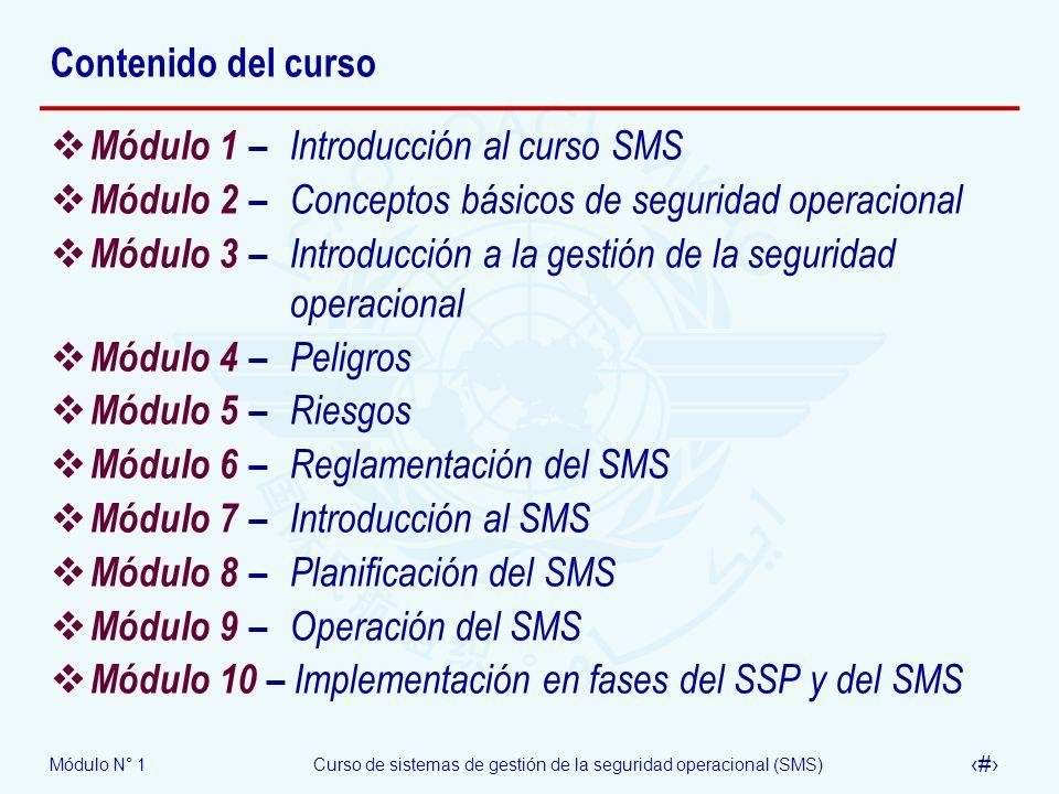 Contenido del curso Módulo 1 – Introducción al curso SMS. Módulo 2 – Conceptos básicos de seguridad operacional.