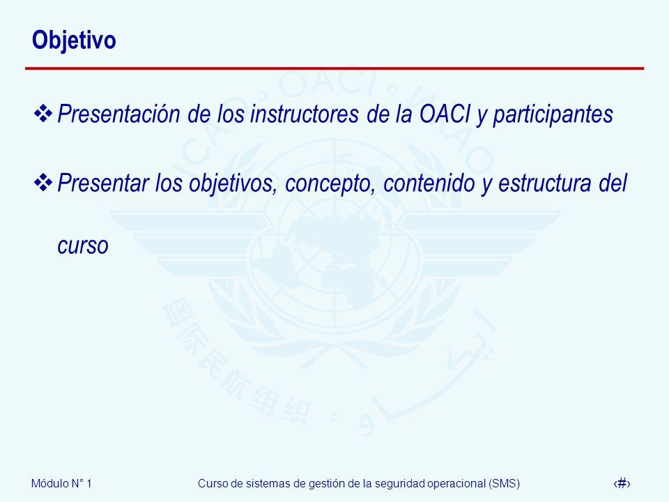 ObjetivoPresentación de los instructores de la OACI y participantes.