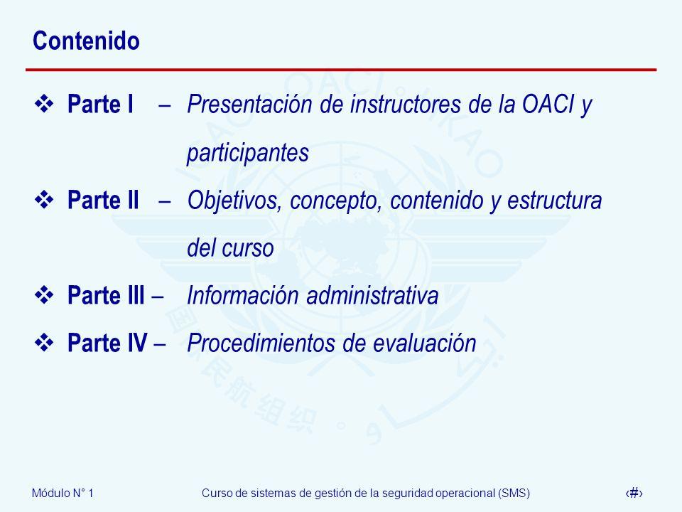 Contenido Parte I – Presentación de instructores de la OACI y participantes.