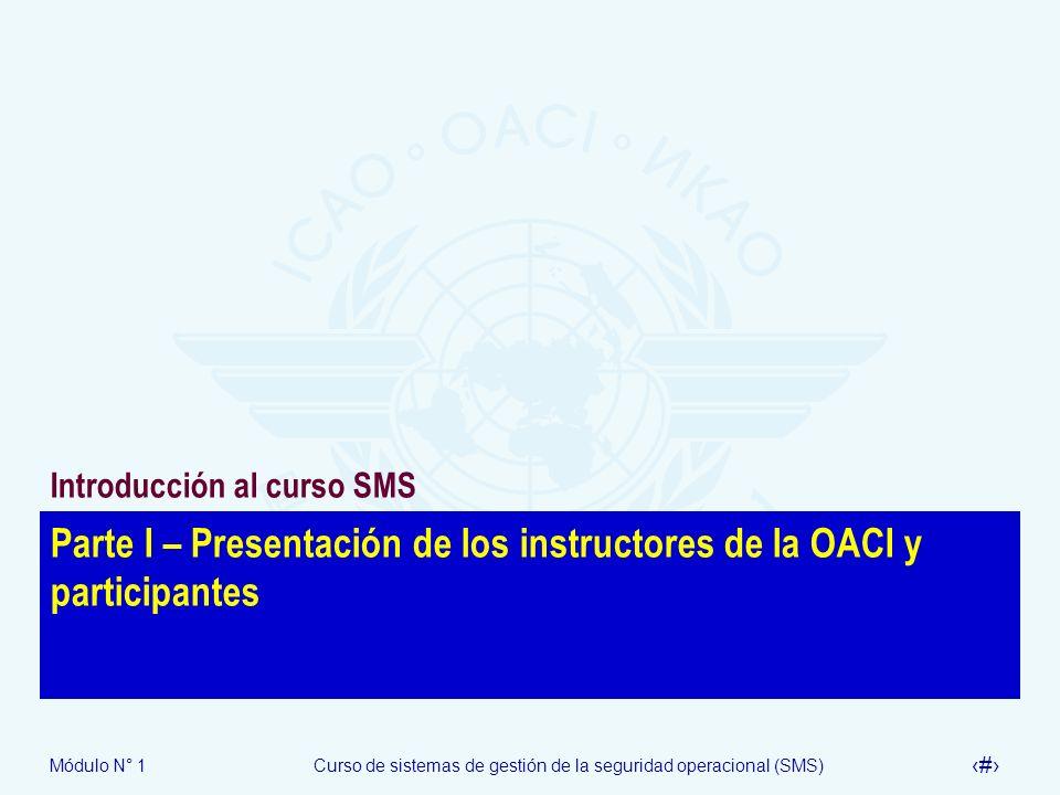 Parte I – Presentación de los instructores de la OACI y participantes