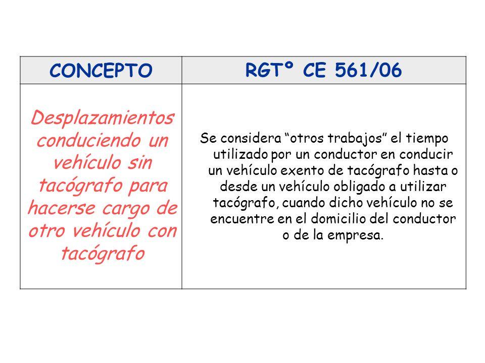 CONCEPTO RGTº CE 561/06. Desplazamientos conduciendo un vehículo sin tacógrafo para hacerse cargo de otro vehículo con tacógrafo.