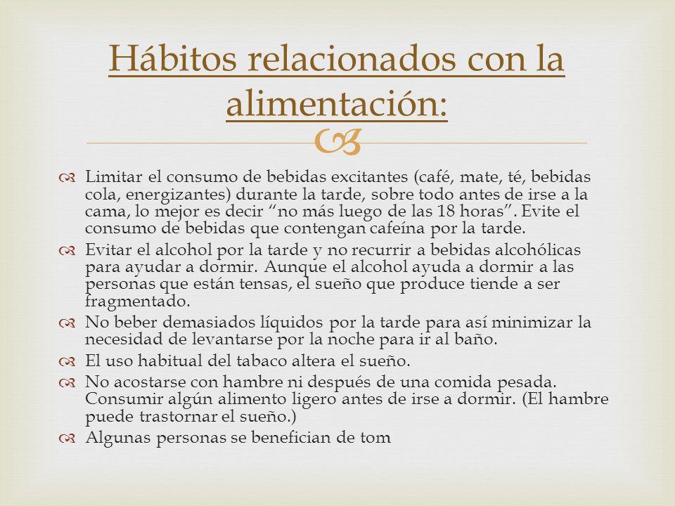 Hábitos relacionados con la alimentación: