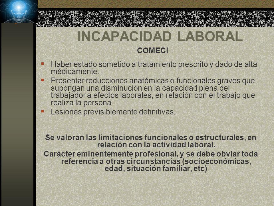 INCAPACIDAD LABORAL COMECI