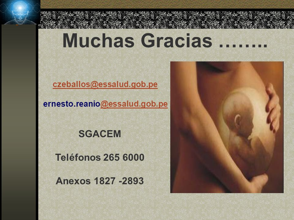 Muchas Gracias …….. SGACEM Teléfonos 265 6000 Anexos 1827 -2893