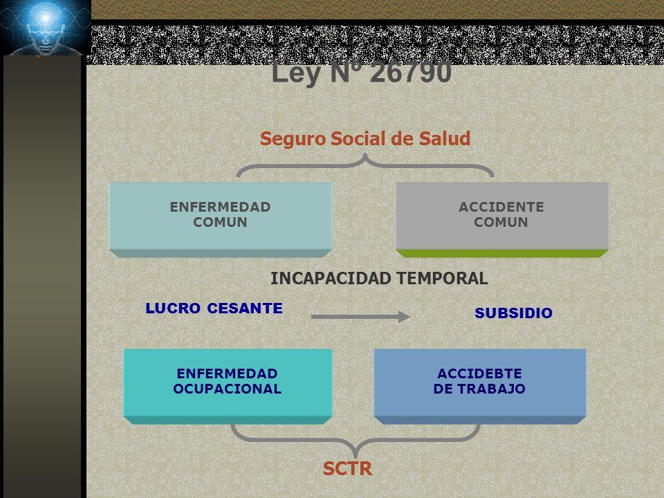 Ley Nº 26790 Seguro Social de Salud SCTR INCAPACIDAD TEMPORAL