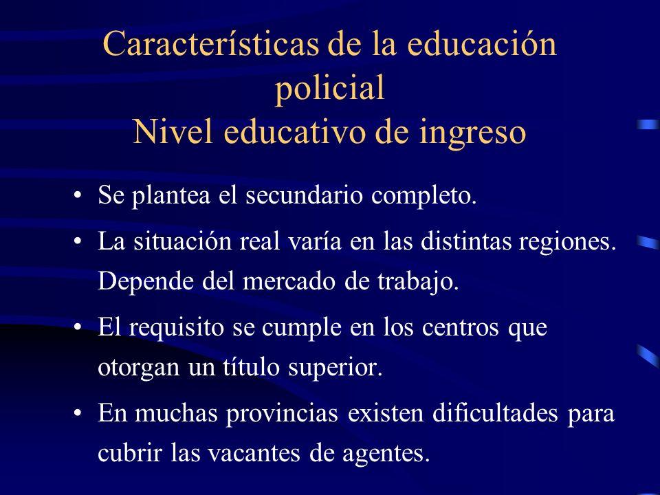 Características de la educación policial Nivel educativo de ingreso