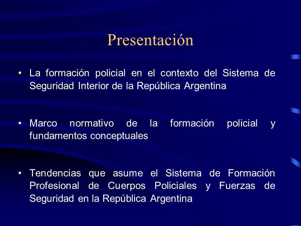 Presentación La formación policial en el contexto del Sistema de Seguridad Interior de la República Argentina.