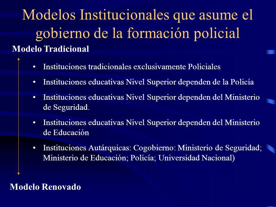 Modelos Institucionales que asume el gobierno de la formación policial
