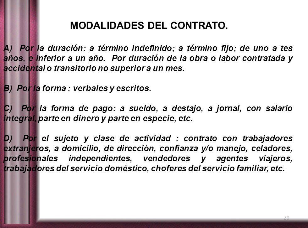 MODALIDADES DEL CONTRATO.