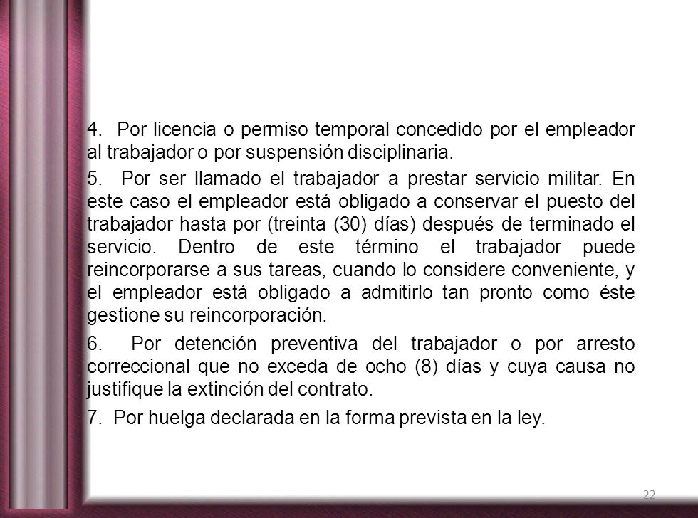 4. Por licencia o permiso temporal concedido por el empleador al trabajador o por suspensión disciplinaria.