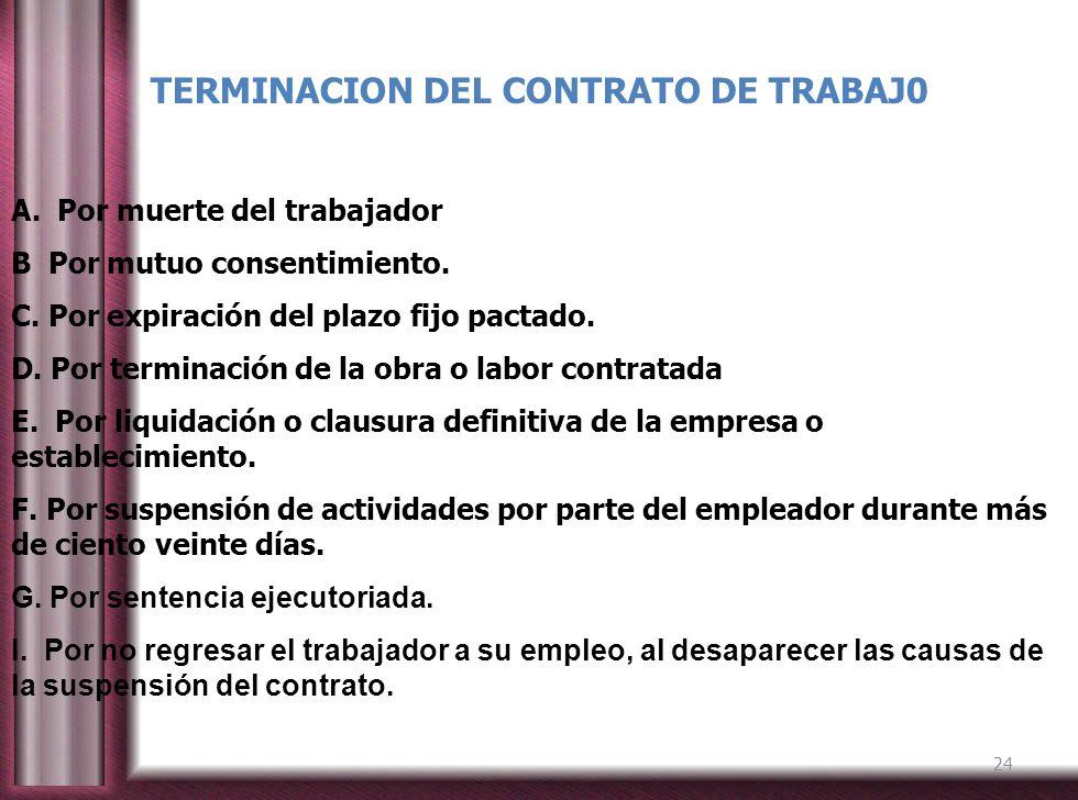 TERMINACION DEL CONTRATO DE TRABAJ0