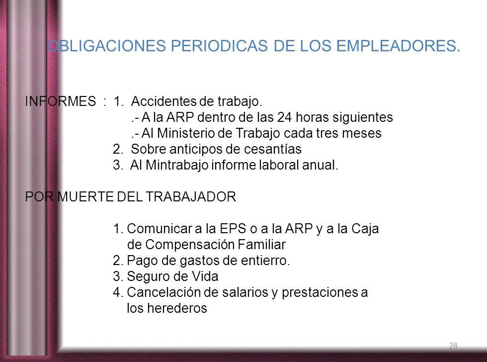 OBLIGACIONES PERIODICAS DE LOS EMPLEADORES.